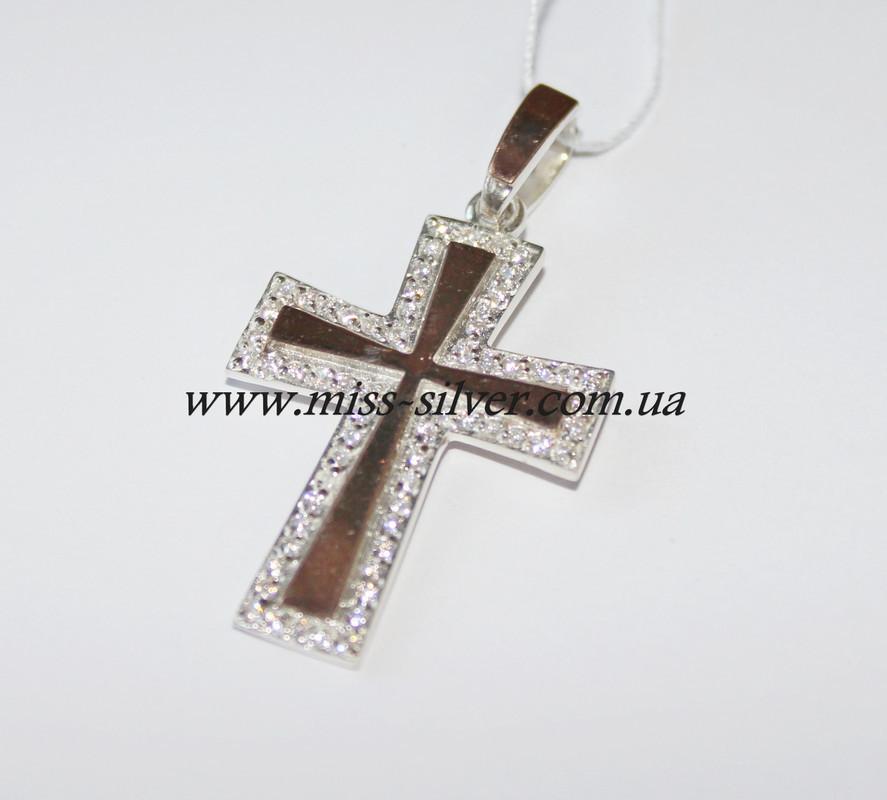 Декоративный серебряный крестик Кипарис