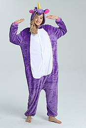 Костюм кигуруми пижама фиолетовый единорог