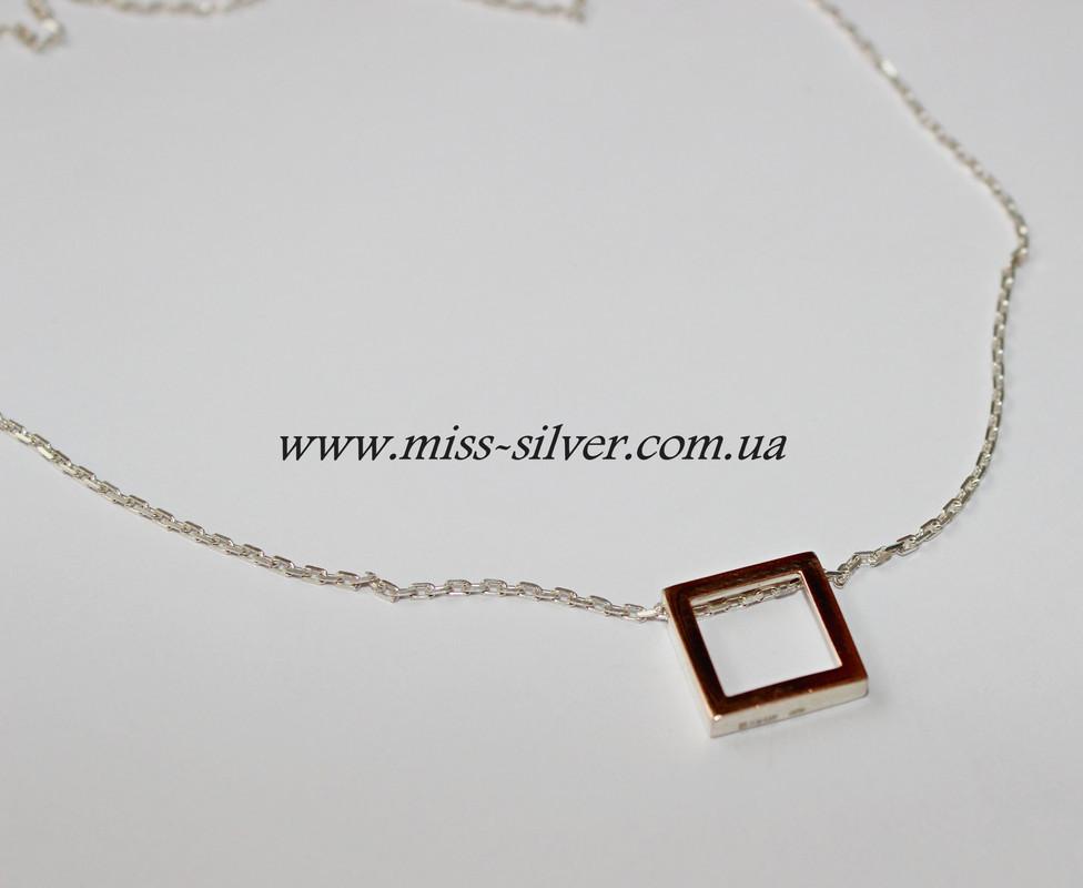 Серебряная цепочка с квадратиком Элемент