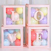 """Набор коробок для воздушных шаров """"LOVE"""". Цвет: Розовый. Размер:30см*30см."""