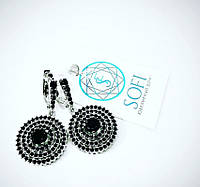 Серебряные серьги с россыпью черных цирконов Леди вдохновение, фото 1