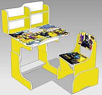 "Парта школьная ЛДСП ПШ 032 ""Бэтмен"" (69*45 см), цвет желтый (парта+1 стул)"
