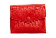 Женский кожаный кошелек 10,5*8,5*3 красный, фото 1