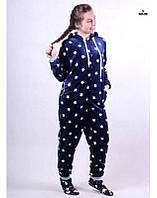 Комбинезон пижама махровый детский с ушками синий теплый кигуруми р. 34-40