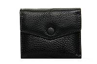 Женский кожаный кошелек 10,5*8,5*3 черный, фото 1