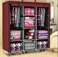 Складной тканевый шкаф, шкаф для одежды HCX Storage Wardrobe 88130 на 3 секции КОРИЧНЕВЫЙ