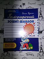 Каліграфічний зошит-шаблон . Збільшений розмір  графічної сітки , синий . Василь Федієнко