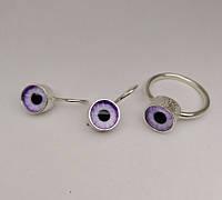 Серебряный комплект с фиолетово-белым камнем Кошачий глаз