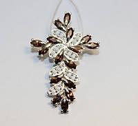 Декоративный крестик с коричневым цирконом Мелодия