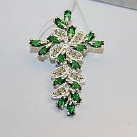 Серебряный крестик с зеленым цирконом Мелодия