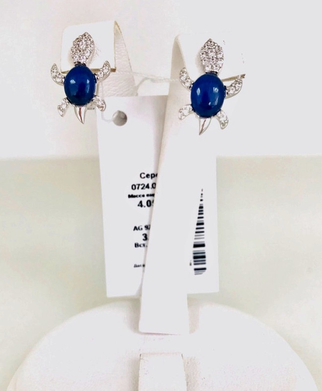 Детские сережки с синим камнем серебро Черепашка