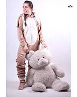 Комбинезон детский пижама махровый детский с ушками серый теплый кигуруми р. 34-40