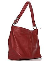 Женская итальянская натуральная кожаная сумка красная 24х26х13
