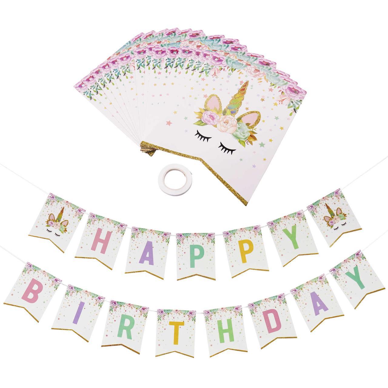 """Гирлянда флажки """"Happy Birthday"""" Единорог.. Длина 3,5м."""