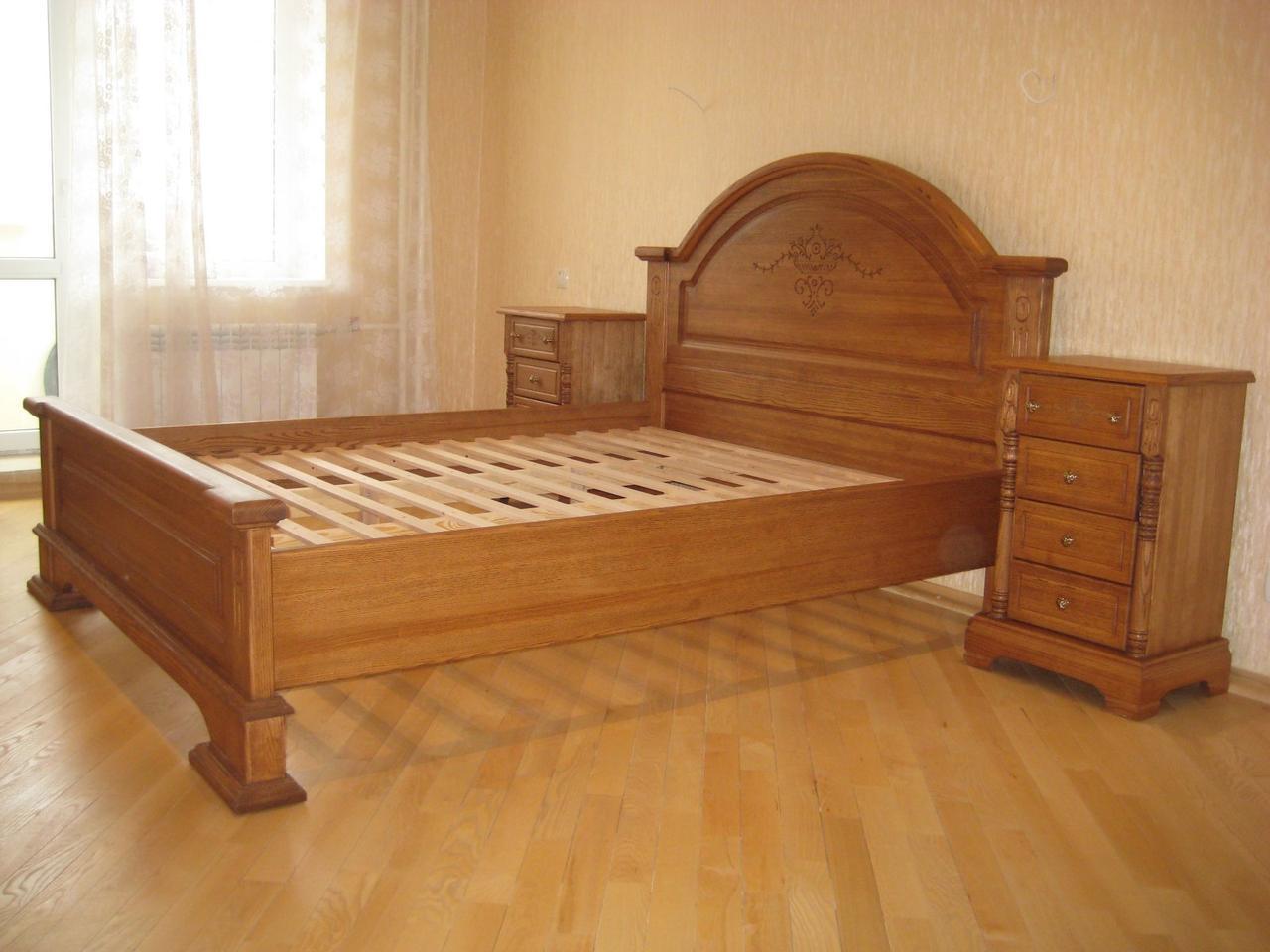 Двоспальне ліжко з масиву дерева ясена 160х200