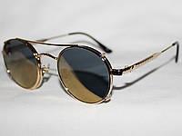 Очки в стиле Guess 28085 золото зеркальные овалы двойная оправа солнцезащитные и для зрения