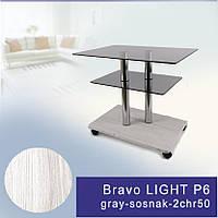 Стол журнальный стеклянный прямоугольный Commus Bravo Light P6 gray-sosnak-2chr50