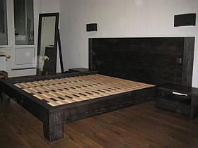 Двуспальная кровать из массива дерева ясеня с выдвижными ящиками 160х200