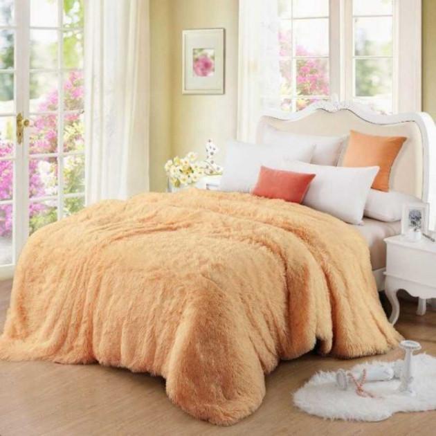 Покривало Хутряне Травка  Плюш Персикове 220 х 240 см Євро покривало на ліжко пакування подарункова сумка