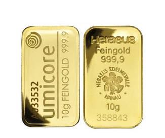 Слиток золота 10 грамм БЕЗ УПАКОВКИ