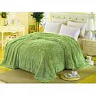 Покривало Хутряне Травка  Плюш Персикове 220 х 240 см Євро покривало на ліжко пакування подарункова сумка, фото 3
