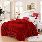 Покривало Хутряне Травка  Плюш Рожеве 220 х 240 см Євро покривало на ліжко пакування подарункова сумка, фото 4