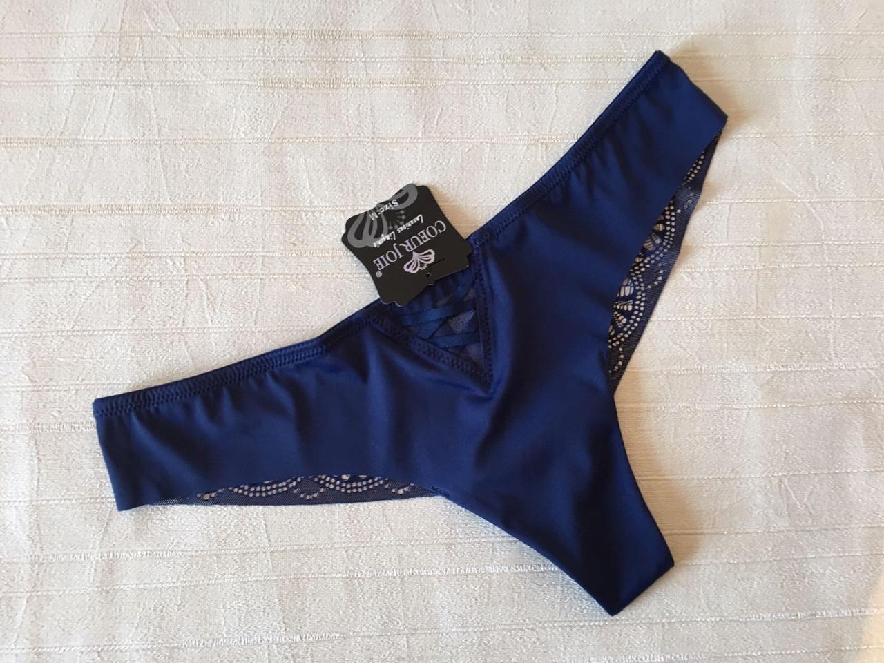 Шикарные бесшовные трусики с кружевом синие, Coeur Joie 1919