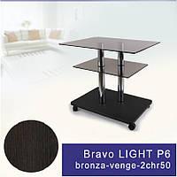 Стеклянный журнальный столик прямоугольный Commus Bravo Light P6 bronza-venge-2chr50