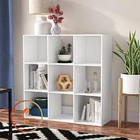 Полка для книг, стеллаж для дома 9 ячеек. ДСП. P0018