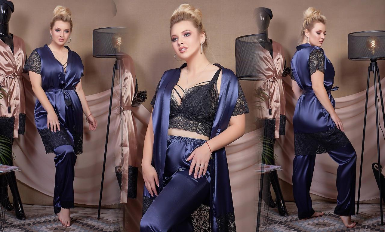 """Женский пижамный костюм-тройка с брюками в больших размерах 525-1 """"Шёлк Кружево"""" в расцветках"""