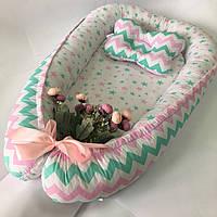 Кокон гнездышко для новорожденных Сладкий Сон с ортопедической подушкой Розовый/мятный