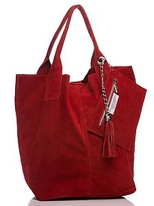Женская итальянская натуральная кожаная сумка красная 36х27х18