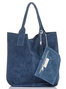 Женская итальянская натуральная кожаная сумка голубая 36х27х18