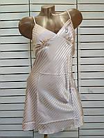 Женский пеньюар(ночная рубашка) из мокрого шелка для сна размер от 44 до 48 Пудра
