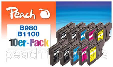 4x bk, 2x each c, m, y Brother LC 980/1100 Multi 10 Pack .