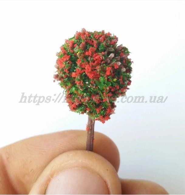 Кусты для макета с красным цветом высотой 40мм 1шт, для масштабов 1/87,1/120