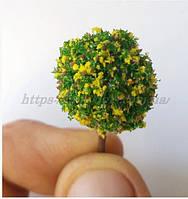 Кусты для макета с желтым цветом высотой 40мм 1шт, для масштабов 1/87,1/120