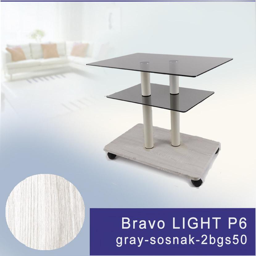 Стол журнальный стеклянный прямоугольный Commus Bravo Light P6 gray-sosnak-2bgs50