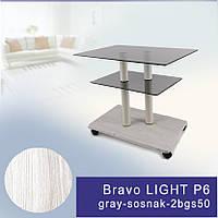 Стеклянный журнальный столик прямоугольный Commus Bravo Light P6 gray-sosnak-2bgs50