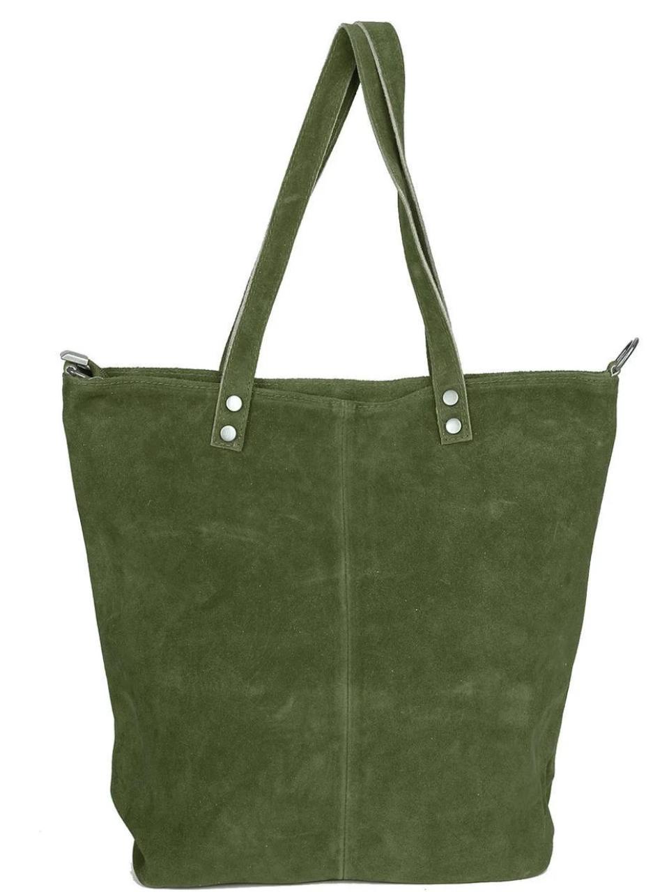 Женская итальянская натуральная кожаная сумка хаки 40х36х13