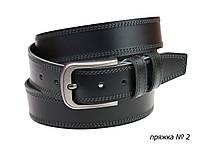 Ремень кожаный джинсовый двойная строчка SULLIVAN  RMK-51(8) 115-150 см черный