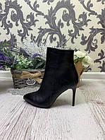 40 р. Ботинки женские деми черные кожаные на высоком каблуке,демисезонные,из натуральной кожи,натуральная кожа, фото 1
