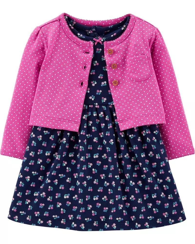 Симпатичный комплект - боди-платье и кардиган Картерс для девочки