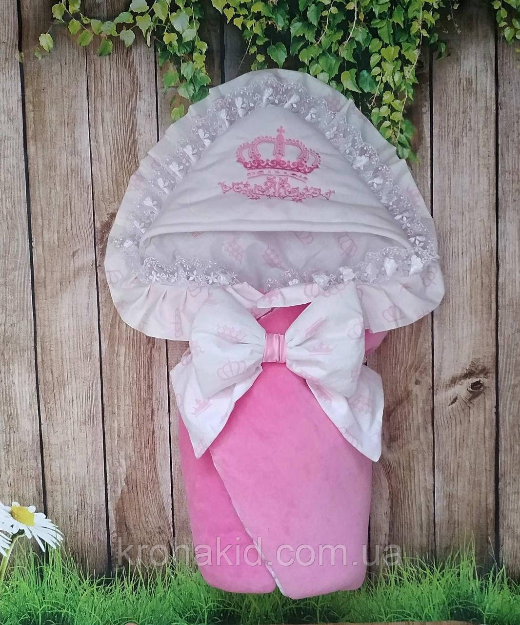 Детский демисезонный велюровый конверт на выписку, конверт-одеяло, нарядный конверт на выписку (ВЕСНА/ ОСЕНЬ)