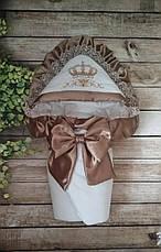 Детский демисезонный велюровый конверт на выписку, конверт-одеяло, нарядный конверт на выписку (ВЕСНА/ ОСЕНЬ), фото 3