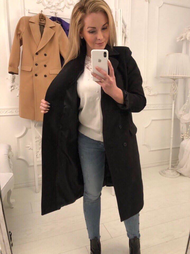 Пальто кашемир женское, черный
