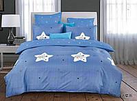 Комплект постельного белья двуспальный Евро Blue Stars Сатин Фабричная Турция