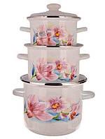 Набор кастрюль эмалированных, кастрюли эмаль цилиндрические «Cиреневая орхидея» Idilia (для всех видов плит)