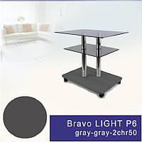 Стол журнальный стеклянный прямоугольный Commus Bravo Light P6 gray-gray-2chr50