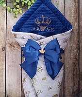 """Детский демисезонный  конверт на выписку """"Корона"""", конверт-одеяло, нарядный конверт на выписку (ВЕСНА/ ОСЕНЬ)"""